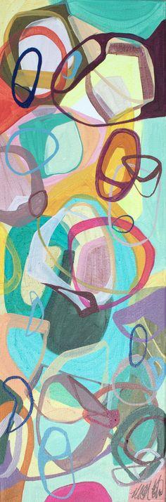 Original Abstract Painting Modern 24 x 8 canvas art by Blochs