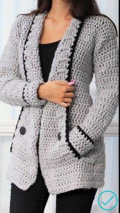 Knit Wrap Pattern, Knit Cardigan Pattern, Crochet Jacket, Sweater Knitting Patterns, Crochet Cardigan, Knitted Baby Clothes, Crochet Clothes, Crochet Shawl Diagram, Crochet Hood