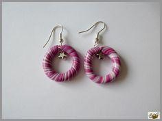 boucles d'oreilles violettes en pâte polymère polymer clay earrings http://ellefimote.canalblog.com/
