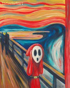 The Scream Print - Shy Guy Painting - Alternative The Scream - Shy Guy Art - Nintendo Art - The Scream Parody - Video Game Art - Fan Art Scream Parody, Scream Art, Famous Art Paintings, Classic Paintings, Watercolor Paintings, Shy Guy, Edvard Munch, Katie Clark, Le Cri