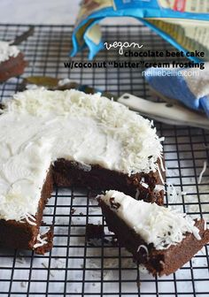 """Vegan Chocolate Beet cake is fudgy, delicious and topped with a vegan coconut """"butter""""cream frosting."""
