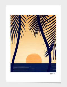 Retro Golden Sunset - Tropical Scene Mini Art Print by kristiangallagher Framed Wall Art, Framed Prints, Canvas Prints, Art Prints, Canvas Paintings, Palette Wall, Beach Pink, Modern Tropical, Tropical Prints