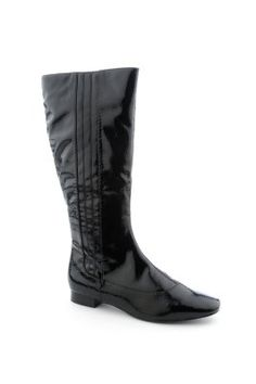 $9.89. #Black patent leather flat boots.