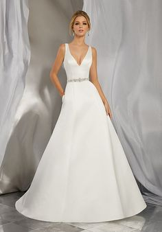 Morena Wedding Dress Classic and Timeless, This Duchess Satin Slim A-Line Gown Features a Deep-V Neckline and Open Back. A Removable Diamanté Encrusted Satin Belt, Also Sold Separately as Style # Completes the Look. Colors Available: White, Ivory. Wedding Dresses Photos, Bridal Wedding Dresses, Wedding Dress Styles, Wedding Attire, Casual Wedding, Trendy Wedding, Fall Wedding, Classic Wedding Dress, Perfect Wedding Dress
