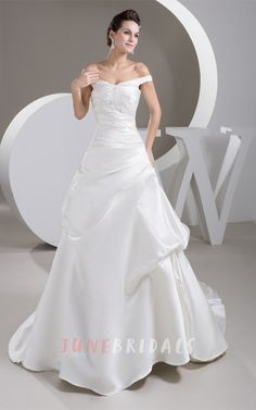 Off-The-Shoulder Pick-Up A-Line Ball Gown with Ruching and Appliques