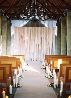 wedding altar of streamers (party lighting ceremony backdrop) Wedding Ceremony Backdrop, Church Ceremony, Ceremony Decorations, Wedding Backdrops, Church Wedding, Wedding Bells, Backdrop Design, Diy Backdrop, Backdrop Lights