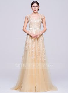 A-Line/Princess V-neck Sweep Train Tulle Evening Dress With Appliques Lace (017070279) - JJsHouse
