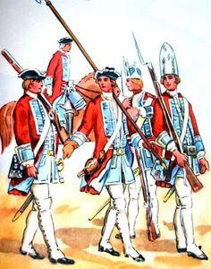 Czasy saskie: Gwardia piesza z 1732 roku. Od lewej: fizylier, adiutant konno, podoficer z halabardą i pistoletem w tejsaku, grenadierzy. Rys. B. Gembarzewski.