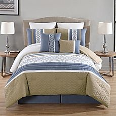 image of Ibrahim 8-Piece Embroidered Comforter Set in Blue/Taupe