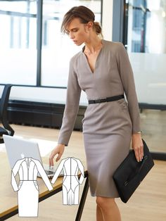 Long Sleeve Sheath Dress 01/2017 #116 http://www.burdastyle.com/pattern_store/patterns/long-sleeve-sheath-dress-012017?utm_source=burdastyle.com&utm_medium=referral&utm_campaign=bs-tta-bl-170117-BusinessCasual-116