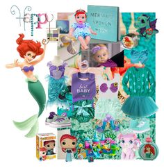 """Baby Ariel"" by verysmallgoddess ❤ liked on Polyvore featuring Vans, Disney, Gerber, Converse, Gymboree, claire's, party, disney, princess and BabyGirl"