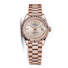 Rolex Women's Datejust 18K Solid Rose Gold Automatic Watch ($24,850) ❤ liked on Polyvore featuring jewelry, watches, rose gold, rolex, pink gold watches, rose gold automatic watch, rolex watches and pink watches