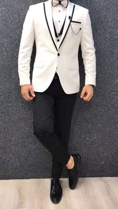 Collection: Spring – Summer 2019 Product: White SlimFit Tuxedo Color Code: White Size: Suit satin fabric, lycra Machine Washable: No Fitting: Slim-fit Package Include: Jacket, Vest, Pants Only Gifts: Shirt, Chain and Bow Tie Blazer Outfits Men, Mens Fashion Blazer, Stylish Mens Outfits, Suit Fashion, Mens Blazer Styles, Men Blazer, Beige Blazer, Striped Blazer, Fashion 2020