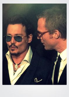 Johnny Depp and Paul Bettany at the Transcendence premiere, Los Angeles, CA, April 10, 2014.