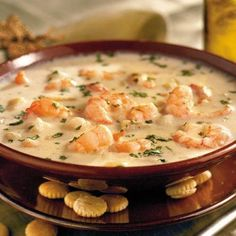 Southern Living Shrimp Chowder - The BEST homemade shrimp chowder. I double the soup and cheese and increase the milk to 6 cups. I also add a large can of corn. Feeds a family for 4 with plenty leftover.