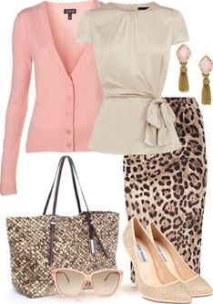Work outfit: leopard print skirt and pink cardigan**Normally I don't like animal prints, but I like this one. Style Work, Mode Style, Work Chic, Work Fun, Leopard Print Skirt, Leopard Prints, Leopard Skirt Outfit, Komplette Outfits, Fashion Outfits