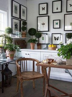 Inside the Next-Level Elegance of Carolyne Roehm's Estate -- This botanical gallery wall is the perfect home office decor for gardeners. See the full tour on our Style Guide!