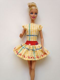 Handmade 20% off SALE Barbie Clothes Red Yellow Blue Skirt by All4U, $6.50