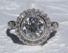 Gerbera Diamond Engagement Ring Mount with Milgrain Bezels by JuliaBJewelry on Etsy