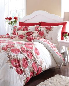 Bold watercolour rose print.  http://www.worldstores.co.uk/p/Catherine_Lansfield_Grace_Red_Bedding_Set.htm
