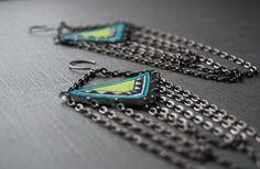 Geometric Chain Earrings / Chandelier by PeriwinkleNuthatch, $37.00