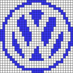 Alpha friendship bracelet pattern added by OwlBcrafty. Pixel Art Templates, Perler Bead Templates, Perler Patterns, Bead Loom Patterns, Beading Patterns, Cross Stitch Patterns, Loom Beading, Vw Logo, Volkswagen Logo