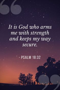 inspirational quote - it is God who arms me with strength ...
