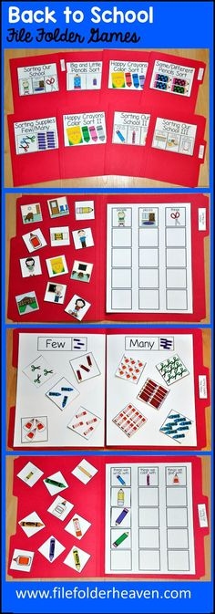 "These Back to School File Folder Games, ""Sorting Our School,"" include 8 unique file folder games that focus on a variety of basic sorting skills."