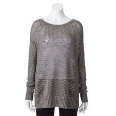 LC Lauren Conrad Pointelle-Back Sweater - Women's