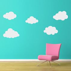 Puffy Cloud Wall Decal Set - Set of FIVE Clouds - Cloud Wall Art - Children Wall Decals