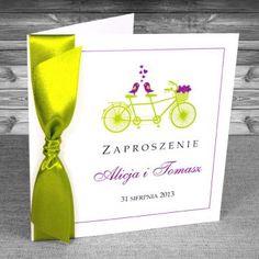 zaproszenia ślubne - Zaproszenia z rowerem Kolory: Fioletowy i zielony w odcieniu limonki. Ciekawe, oryginalne, Ręcznie robione.