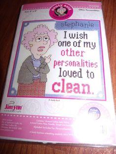 "Janlynn Aunty Acid OTHER PERSONALITIES Counted Cross Stitch Kit 8"" x 8""  #Janlynn"