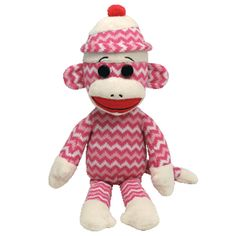 Ty Beanie Babies Large Pink Socks the Sock Monkey