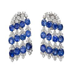 Estate Betteridge Collection Sapphire & Diamond 'Waterfall' Earrings