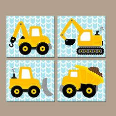 Custom Wall Art, Shower Curtains & Home Decor ⭐️⭐️⭐️⭐️⭐ by TRMdesign Construction Party Cakes, Construction Nursery, Construction Birthday, 1st Boy Birthday, Birthday Party Themes, Baby Boy Room Decor, Transportation Theme, Art Drawings For Kids, Craft Materials