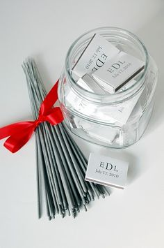 sparklers that last 2 min.! and personalized matches!  48 for $37 they also come in 36 in.  these are 20 in. Perfect for my idea to wait to send off the bride and groom until the reception comes to an end! Since that's when they really leave together and it will actually be dark outside!