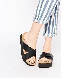 Shop Monki Liza Black Cross Strap Footbed Flat Sandals at ASOS.