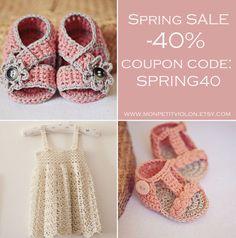 SALE, crochet patterns, baby booties, baby sandals, baby dress, monpetitviolon patterns www.monpetitviolon.etsy.com *Code is valid until 17th of April (2013)