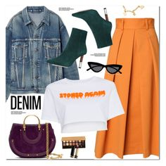 """Denim Jacket"" by oshint ❤ liked on Polyvore featuring Balenciaga, TIBI, Heron Preston, Kurt Geiger, Chloé, Le Specs, Anastasia Beverly Hills and Gucci"