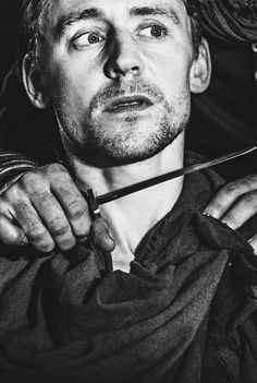 """Tom Hiddleston as 'Coriolanus' offering his life to Auficdius, his blood enemy after his banishment from Rome. """"Like a dull actor now, I have forgot my part, and I am out, Even to a full disgrace."""" (5.3.40)"""