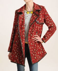 Oh. I. Want. This. Coat.  DV by Dolce Vita Red Leopard Coat