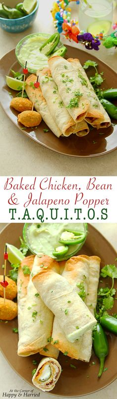Serve these delicious baked taquitos filled with chicken, black beans and cream cheese stuffed jalapeño peppers at your Cinco de Mayo party with a tangy and creamy avocado crema dip for a flavorful fiesta! #CincodeMayo