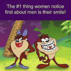 The #1 thing women notice first about men is their #smile! And now you can get  #StraightTeeth without #braces with #OrthoSnapNewYork / #Manhattan and #Brooklyn, #NY | 1.844.678.4676 |  http://www.OrthoSnapNY.com | #man #woman #coo #funny #cute #cartoon #teeth #orthodontist #dentist #newyork #nyc