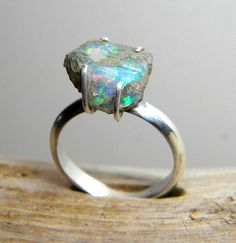 Sterling Silver Opal Ring Silver Ring Opal Stone by SagesLeaf, $165.00