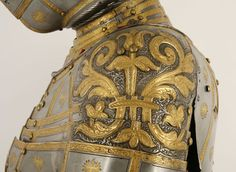 """Jörg Seusenhofer and Hans Perckhammer. Detail from the tonlet armor, part of a garniture made for Archduke Ferdinand II of Tyrol known as the """"Adlergarnitur"""" (Eagle Garniture), Innsbruck Ancient Armor, Medieval Armor, Arm Armor, Body Armor, Armor Tattoo, Armadura Medieval, Knight Armor, Dungeons And Dragons, Boku No Hero Academia"""