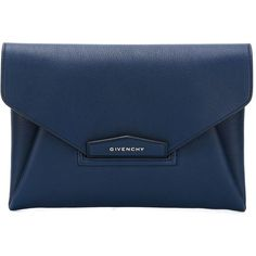 Givenchy 'Antigona' clutch (67,530 PHP) ❤ liked on Polyvore featuring bags, handbags, clutches, laukut, wallets, blue, envelope clutch bag, givenchy purse, blue purse and envelope clutch