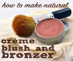 DIY Homemade Natural Creme Blush and Bronzer - made with nontoxic ingredients like shea butter, aloe, and minerals with natural colors.