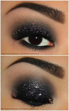 might try this. I have never done this dark of eye makeup, but a little sparkle added might convince me!