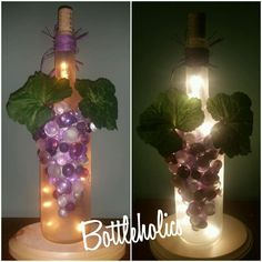Lighted wine bottle with frosted finish, purple grape cluster and glitter accents.   Electric lights fill bottle through professionally drilled hole in back.   I WELCOME CUSTOM ORDERS   Message me ANYTIME   Thank you   Stephanie Allen   Bottleholics | eBay!