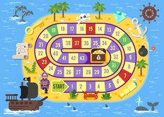 Flat style of kids pirate board game Royalty Free Vector , Games For Kids, Diy For Kids, Bike Silhouette, Board Game Template, Kids Bicycle, Fun Board Games, Preschool Education, Indoor Games, School Readiness